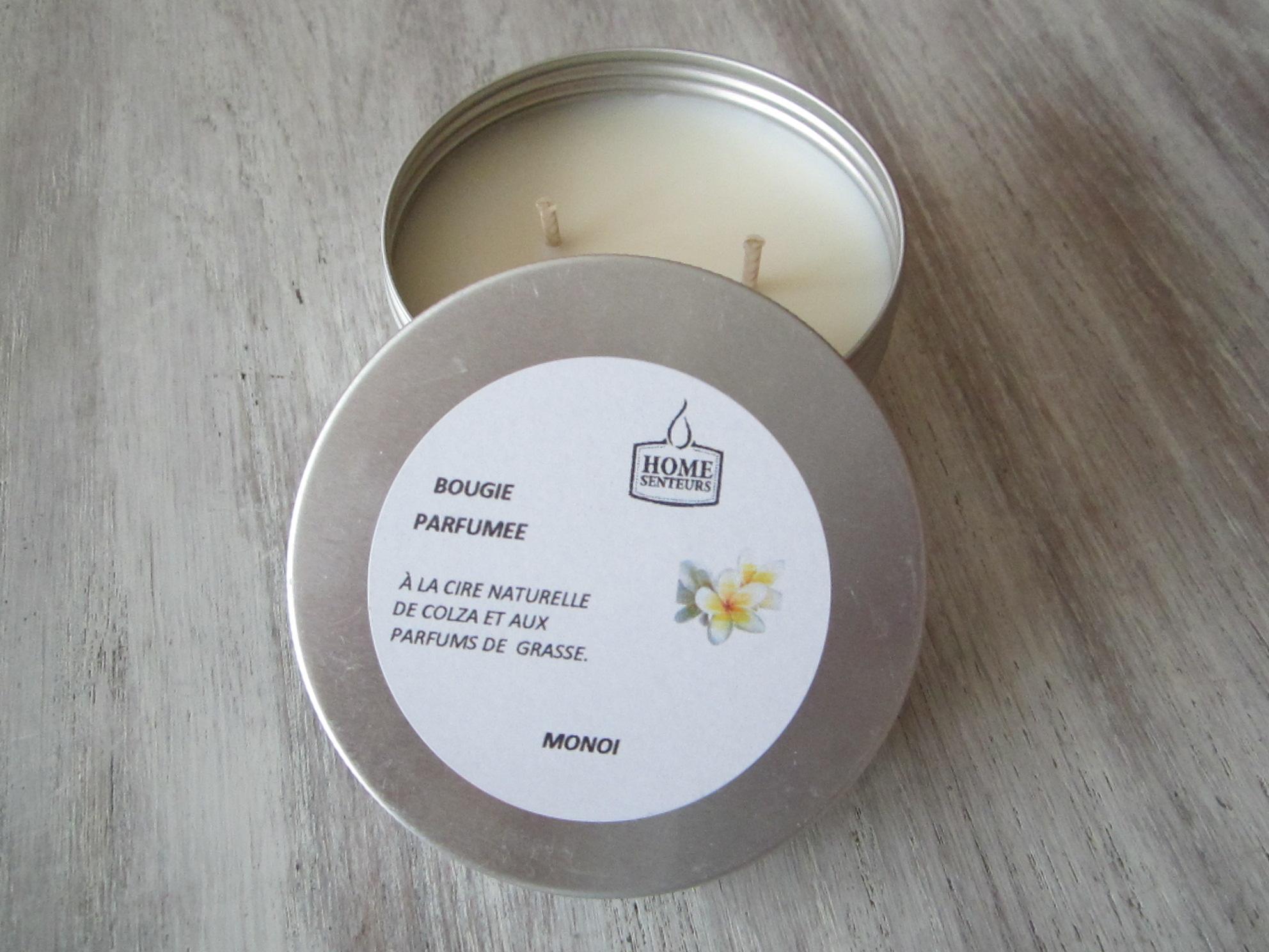 "Bougie artisanale parfumée en ""boîte alu"" Monoï"