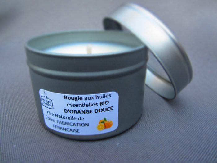 Bougie aux huiles essentielles bio d'orange douce